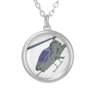 Apache helicopter in front view silver plated necklace
