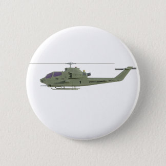 Apache helicopter in side view profile 6 cm round badge
