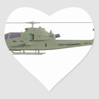 Apache helicopter in side view profile heart sticker