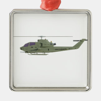 Apache helicopter in side view profile metal ornament