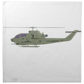 Apache helicopter in side view profile napkin