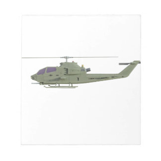 Apache helicopter in side view profile notepad