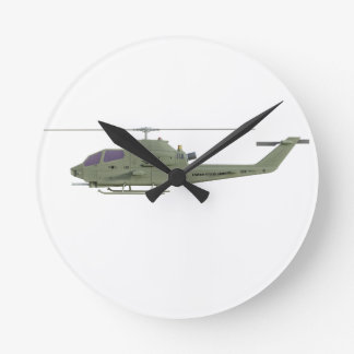 Apache helicopter in side view profile round clock