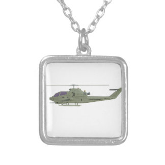 Apache helicopter in side view profile silver plated necklace