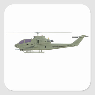 Apache helicopter in side view profile square sticker