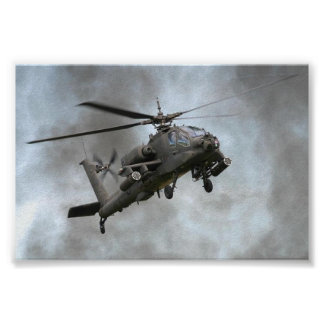 Apache Helicopter in the smoke Posters