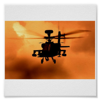 Apache Sunset Silhouette Poster
