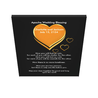 Apache Wedding Blessing Gold Hearts Canvas Print