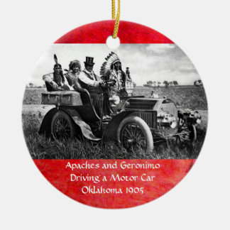 APACHES AND GERONIMO DRIVING A MOTOR CAR CERAMIC ORNAMENT