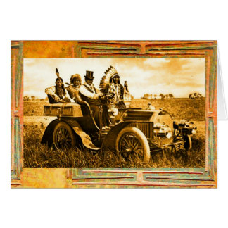 APACHES & GERONIMO DRIVING MOTOR CAR Father's Day Card