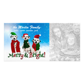 APAL - Christmas Dalmatian Dogs in Santa Hats Personalized Photo Card