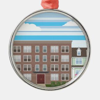 Apartment building metal ornament