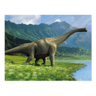 Apatosaurus At Lake Postcard Brontosaurus