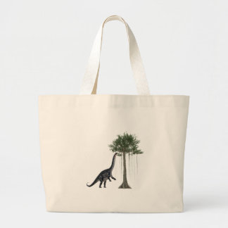 Apatosurus Dinosaur feeding on a Tree Large Tote Bag