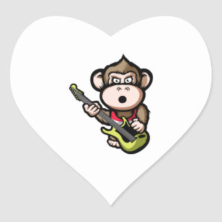 Ape Guitar Heart Sticker