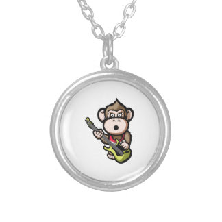 Ape Guitar Silver Plated Necklace
