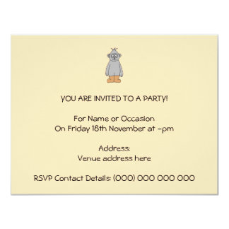 """Ape in Brown Boots. 4.25"""" X 5.5"""" Invitation Card"""