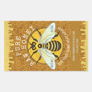 Apiary Honeybee Honey Jar Labels   Honeycomb Bee