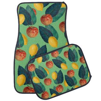 aples and lemons green car mat