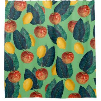 aples and lemons green shower curtain