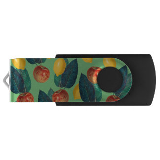 aples and lemons green USB flash drive