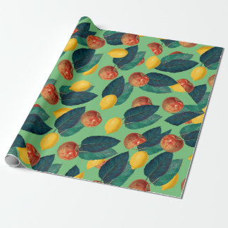 aples and lemons green wrapping paper