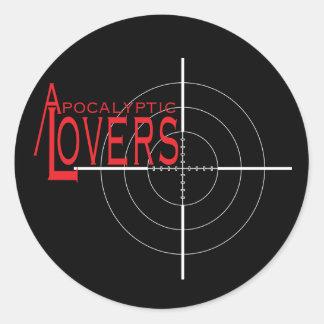 Apocalyptic Lovers Gun Sight Sticker! Classic Round Sticker