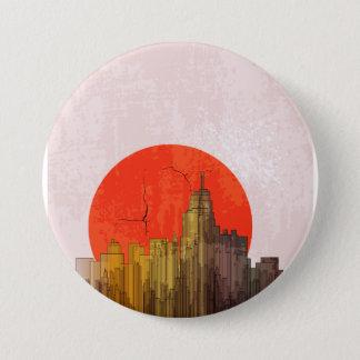 Apocalyptic Retro City Button