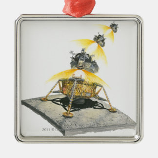 Apollo 11 Eagle module taking off from the Moon Silver-Colored Square Decoration