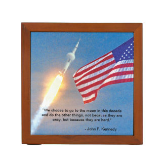 Apollo 11 launch with American Flag Desk Organiser