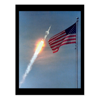 Apollo 11 launch, with flag, NASA Postcard