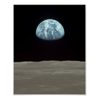 Apollo 11 View of Earth Rising above the Moon Poster