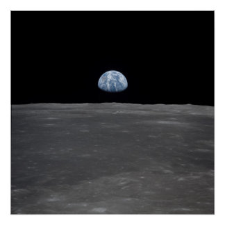 Apollo 11 view of Earth Rising above the Moon Print