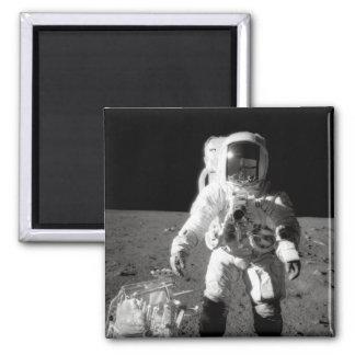Apollo 12 Moonwalk Square Magnet
