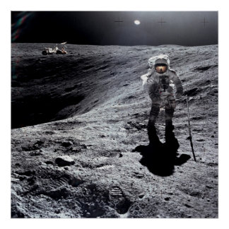 Apollo 16 Astronaut on the Moon Poster