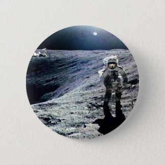 Apollo Astronaut walking on the Moon and crater 6 Cm Round Badge