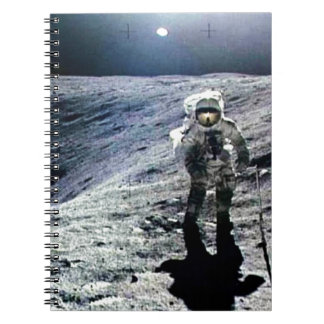 Apollo Astronaut walking on the Moon and crater Spiral Note Book