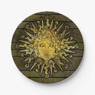 Apollo Sun Symbol on Greek Key Pattern Paper Plate