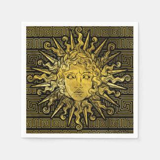 Apollo Sun Symbol on Greek Key Pattern Paper Serviettes