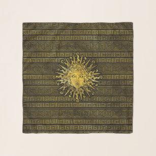 Apollo Sun Symbol On Greek Key Pattern Scarf
