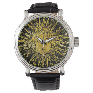 Apollo Sun Symbol on Greek Key Pattern Watch