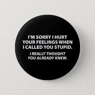 Apologizing to stupid people 6 cm round badge