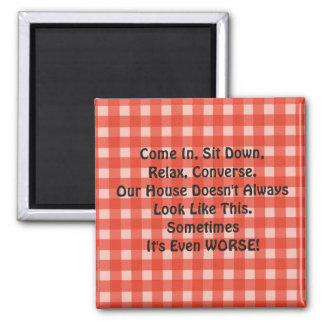 Apology for Messy House Retro Magnet Red Checked
