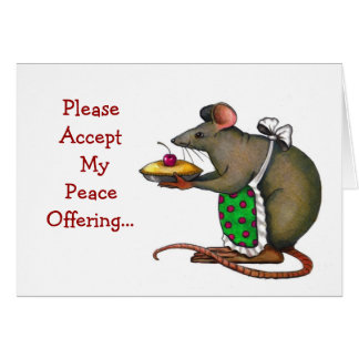 Apology: Sorry: Peace Offering: Mrs. Rat: Art Greeting Card