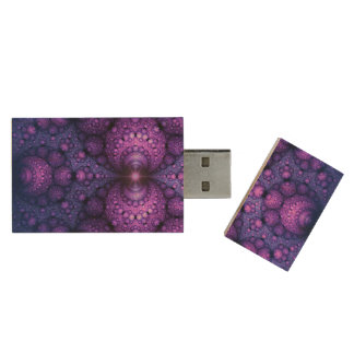 Apophysis Fractal - Atoms Fusion + your ideas Wood USB 2.0 Flash Drive