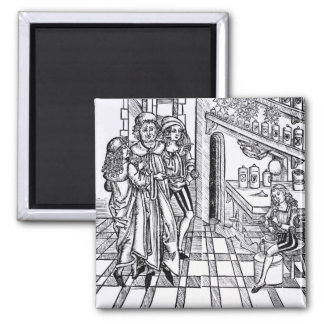 Apothecary's shop, from 'Das Buch der Cirugia' pub Square Magnet