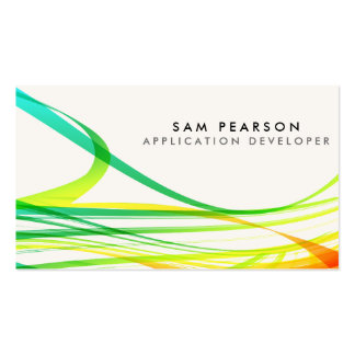 App Developer Colorful Abstract Flowing Streamers Business Card Templates