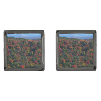 Appalachian Mountains in Fall Nature Photography Gunmetal Finish Cuff Links