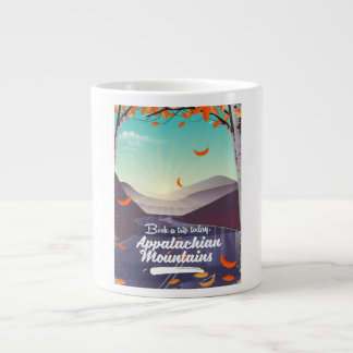Appalachian Mountains vintage travel poster Large Coffee Mug