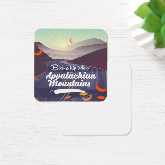 Appalachian Mountains vintage travel poster Square Business Card